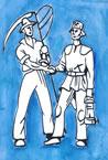 Ackerbauer und Bergmann auf blauem Hintergrund - Der Wegweiser des ERZWEG - Mitte